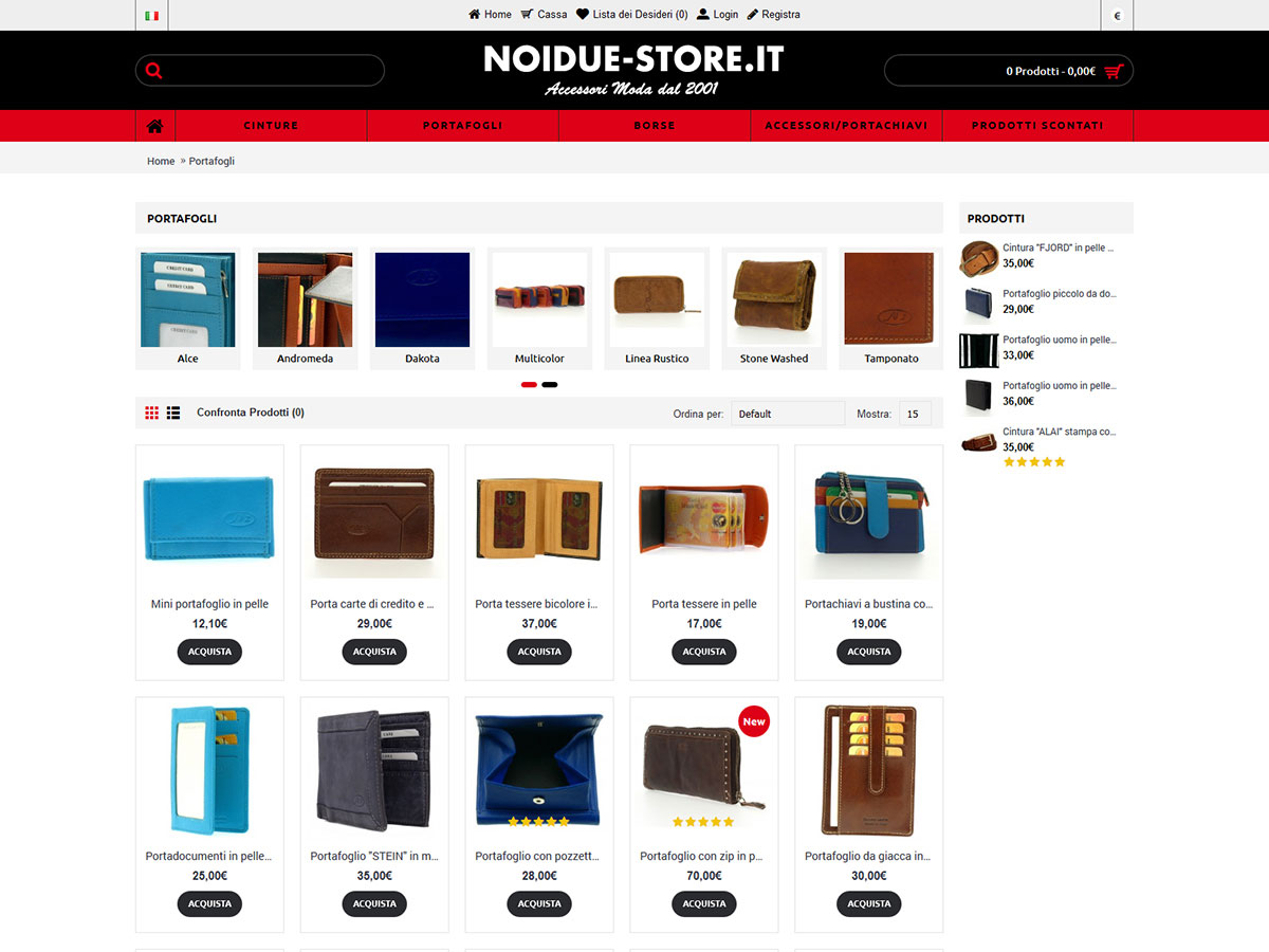 Noidue-store.it e-commerce in Opencart